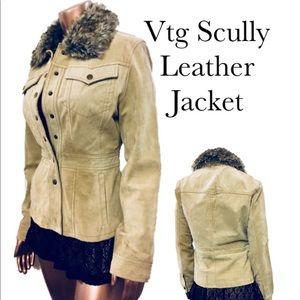 Vtg Scully Fur Boho Western Leather Jacket